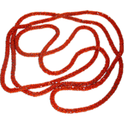 "Vintage 1920's 76"" long Flapper Lariat Necklace Burnt Orange Glass Czech Beads"