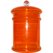 "Vintage Hand Made Poland Bright Orange Glass 13 1/2"" tall Apothecary Covered Jar"