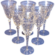 Vintage Cut Crystal / Glass ~ 6 Tall Champagne & 7 Plates ~ Formal Dessert Set