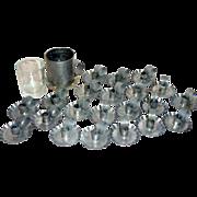 22 Vintage Aluminum Christmas Finger Candle Holders + Master Candle Glass Liner