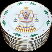 """11 Vintage Porcelain 9 1/2"""" Christmas Holiday Angel Plates Heinrich Bavaria"""