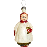 "Vintage 1930's Blown Glass Figural Xmas Tree Ornament 4"" Choir Boy & Candle"