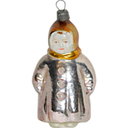 Vintage 1930's Blown Glass Figural Xmas Tree Ornament Child in Winter Coat