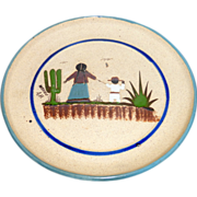"Vintage signed Mexico A.B. Hand Painted Stoneware 10"" Pottery Wall Plate"