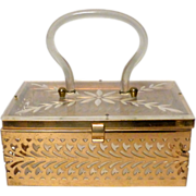 """Vintage 1950's Reticulated Brass & Carved Lucite 7 1/2"""" Dainty Box Handbag Purse"""
