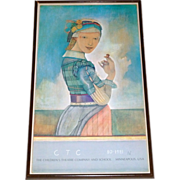 """Vintage Mpls. Children's Theater Company 1980-81 Framed 33"""" SR Poster ~ Girl with Acorn"""