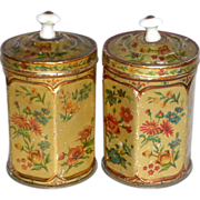 """Rare Pair of Children's 4"""" Antique Hexagon Floral Tin Canisters Porcelain Knobs"""