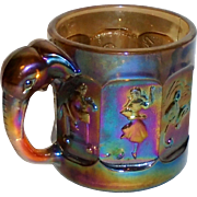 Vintage Imperial Carnival Glass Story Book Fairy Tales Children's Mug EWR Amber