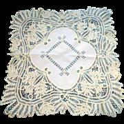 "Antique Hand Made Battenburg Lace Light Cream Tea Table Cloth 41"" X 41"""