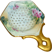 "1900's 6"" Tea Strainer Hand Painted Porcelain Green & Gold with Roses"