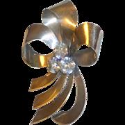 """Vintage 1940's sgnd Ingenue Sterling Lrg 4"""" Modernist Ribbon Brooch Glass Stones"""