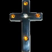 Stunning Vintage 1930's Bakelite Black Cross Brooch Pin with Colored Rhinestones