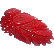 "Vintage 1930's carved Cherry Red Bakelite Pineapple Dress Brooch 2 3/4"" long"