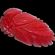 """Vintage 1930's carved Cherry Red Bakelite Pineapple Dress Brooch 2 3/4"""" long"""