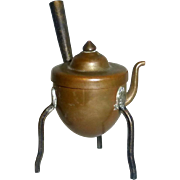 SOLD Antique Copper Dollhouse Standing 3 Leg Kettle with Long Arm