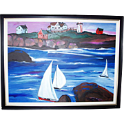 "THE SWEDISH REGATTA Alexandra Jacobs 54"" Framed Original Oil Painting"