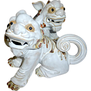 Vintage Pair of Adorable Chinese Wanjiang Pottery Glazed Mud Lion Foo Dogs