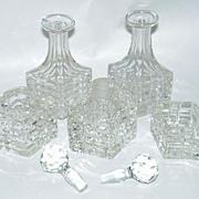 6 Piece Art Deco Beveled Cut Glass Perfume Bottles Vanity Set in Metal Cart