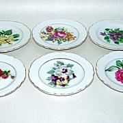 6 Vintage Japan Porcelain Butter Pats with Flowers
