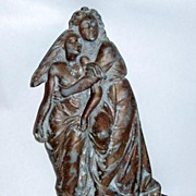 Antique Altar Detail Man Woman Fleeing Wrath Metal Relief Sculpture