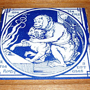 Six Rare 1870's Blue MINTON TILES Wood Framed Aesop's Fables