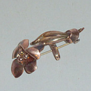 "Art Nouveau 12k GF on Sterling Floral 2"" Watch Pin Fob Brooch"