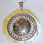 """OOAK Vintage 4"""" Sterling & Mother of Pearl Hand Made Pendant"""