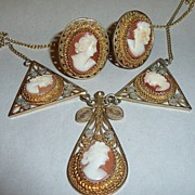 Vintage 1930 Carved Shell Cameo Demi Parure in Silver Filigree