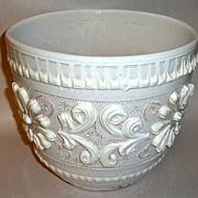 Vintage 1960's White Wedding Cake Italian Pottery Cache Pot - Jardiniere