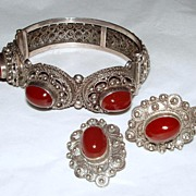 SALE PENDING Vintage Italy Ornate 800 Silver Demi Parure with Red Stone Cabochons