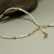 SOLD Mother of Pearl (MOP), Vermeil, Adjustable 14k Gold-Fill Anklet