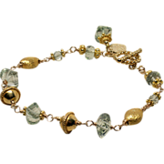 Green Amethyst (Prasiolite), Vermeil, Gold-Fill Hand Linked Toggle Bracelet