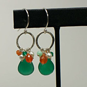 SOLD Green Onyx Briolette, Multi Gemstone, Sterling Silver Dangle Earrings
