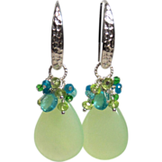 SOLD Chalcedony Apatite Peridot Quartz Cluster Earrings