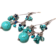 SOLD Nevada Turquoise, Lapis, Topaz, Sterling Silver Chandelier Earrings