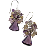 Trillion-Cut Amethyst, Citrine, Ametrine Sterling Earrings