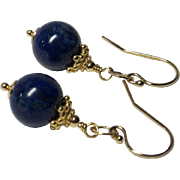 Polished Lapis Lazuli Gold-Fill Drop Earrings