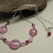 SOLD 'Raspberry Sorbet' ~ Borosilicate Glass Lampwork, Swarovski Crystal, Sterling Silver Chai