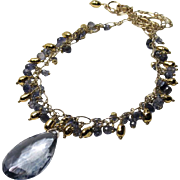 IoliteTeardrop Gold Plated Pearl And Crystal Quartz Pendant Gold-Fill Chain Necklace
