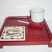 Georges Briard Red Cheese Board with Dragon Trivet