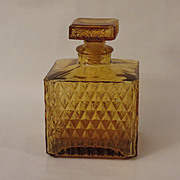 Vintage Amber Glass Decanter in Diamond Pattern