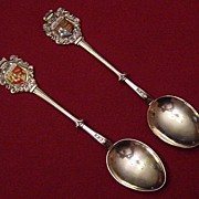 Set of Two Silverplated Enamel Souvenir Spoons -  Great Britain and Wales