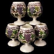 Grandma's Ceramic Grape Goblets Set of Six