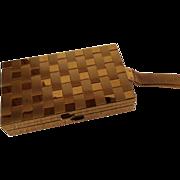 SOLD Goldtone Basketweave Metal Carry All Purse