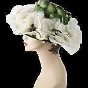 SOLD Vintage Wide Brim Hat White Silk Florals w/ Green Petals by Mr Joseph Sz 21