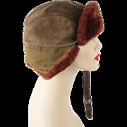 SOLD Vintage Wolverine Bomber Suede and Fur Adjustable Hat Sz L 23
