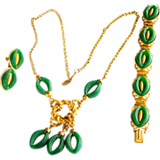 REDUCED REDUCED PRICE Vintage Miriam Haskell Necklace, Bracelet, Earrings Set Gilt & Green Pla