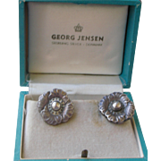 Vintage Earrings by Georg Jensen Denmark Silver Flowers, Original Box