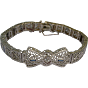 Art Deco Filigree Bracelet Platinum on 14K WG Bow Front with Diamonds and Faux Sapphires