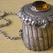 SOLD Stunning Art Nouveau Purse Handbag Frame Sterling Silver Expandable Gate, Large Citrine C